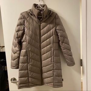 CK Lightweight Down Quilted Puffer Coat-Taupe